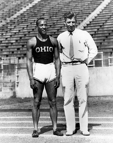 1935, Jesse Owens with Coach Larry Snyder. (location: 102)